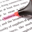 Highlighter and word business — Stock Photo