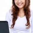 Asian woman on a laptop — Stock Photo