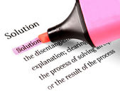 Highlighter and word solution — Stock Photo