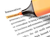 The word Innovation, highlighted — Stock Photo