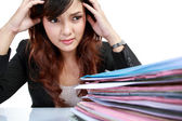 Business woman stressed at work. — Stock Photo