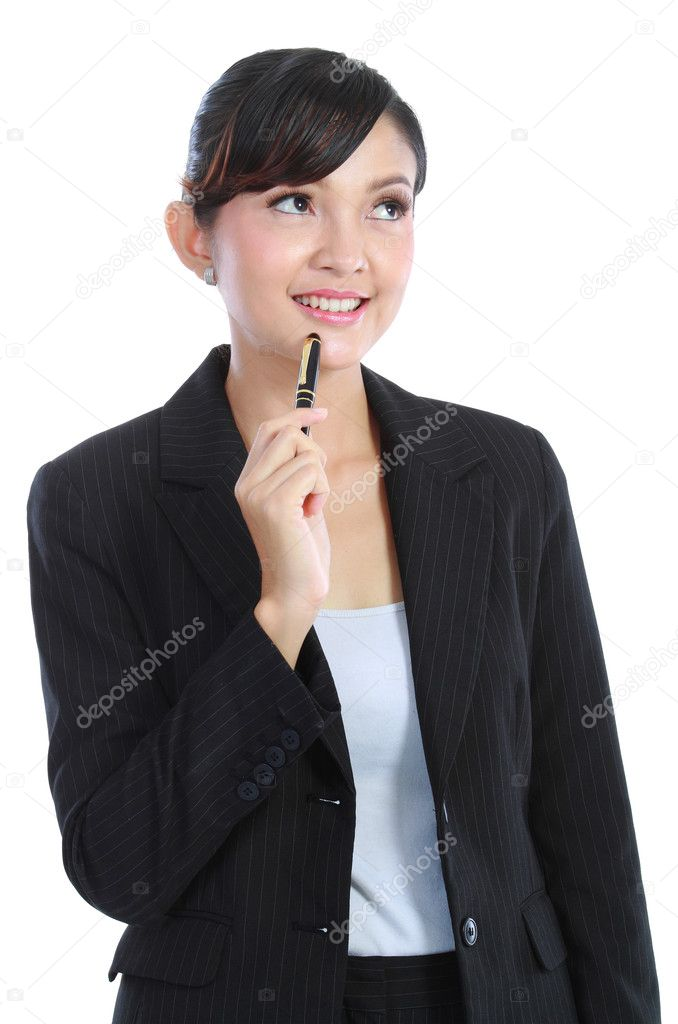 Beautiful business woman thinking isolated on white background — Stock Photo #10755452