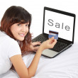 Woman doing online shopping — Stock Photo #10956382