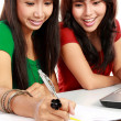 Two young asian student studying — Stock Photo #10957506
