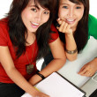 Two young asian student studying — Stock Photo
