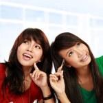 asiatiska kvinnliga tänkande — Stockfoto