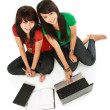 Foto Stock: Two girls-students