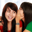 Two young woman sharing gossip — Stockfoto