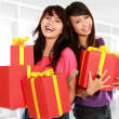 Two young girls carrying present — Stock Photo #10957975