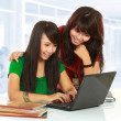 Girl browse internet — Stock Photo