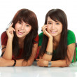 Stock Photo: Two girls smiling