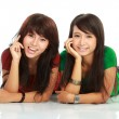 Foto Stock: Two girls smiling