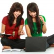 Two girls-students — Stock Photo