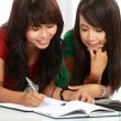 Two young asian student studying — 图库照片
