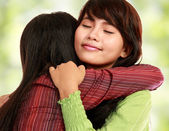 Two women hugging — Stock Photo
