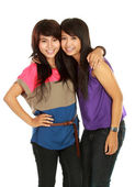 Two girls smiling — Stock Photo