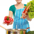 Woman putting a bunch of healthy ingredients — Stock Photo