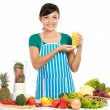Woman having a fresh juice — Stock Photo