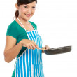 Woman with frying pan — Stockfoto