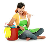 Woman with cleaning equipment — Stock Photo