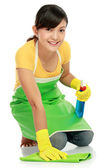 Woman cleaning the floor — Stock Photo