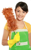 Woman with cleaning duster — Stock Photo