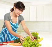 Woman preparing some heathy food — Stock Photo