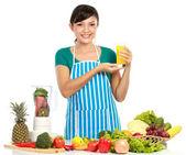 Kobieta o świeży sok owocowy — Zdjęcie stockowe