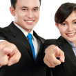 Man and woman office worker pointing — Stock Photo
