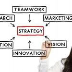 Businesswoman draw Strategy concept — Stock Photo