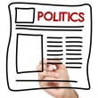 Politics News hand drawn on white board — Stock Photo #11146160