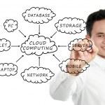 Cloud computing esquema en la pizarra — Foto de Stock