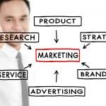 Businessman draw marketing concept — Stock Photo