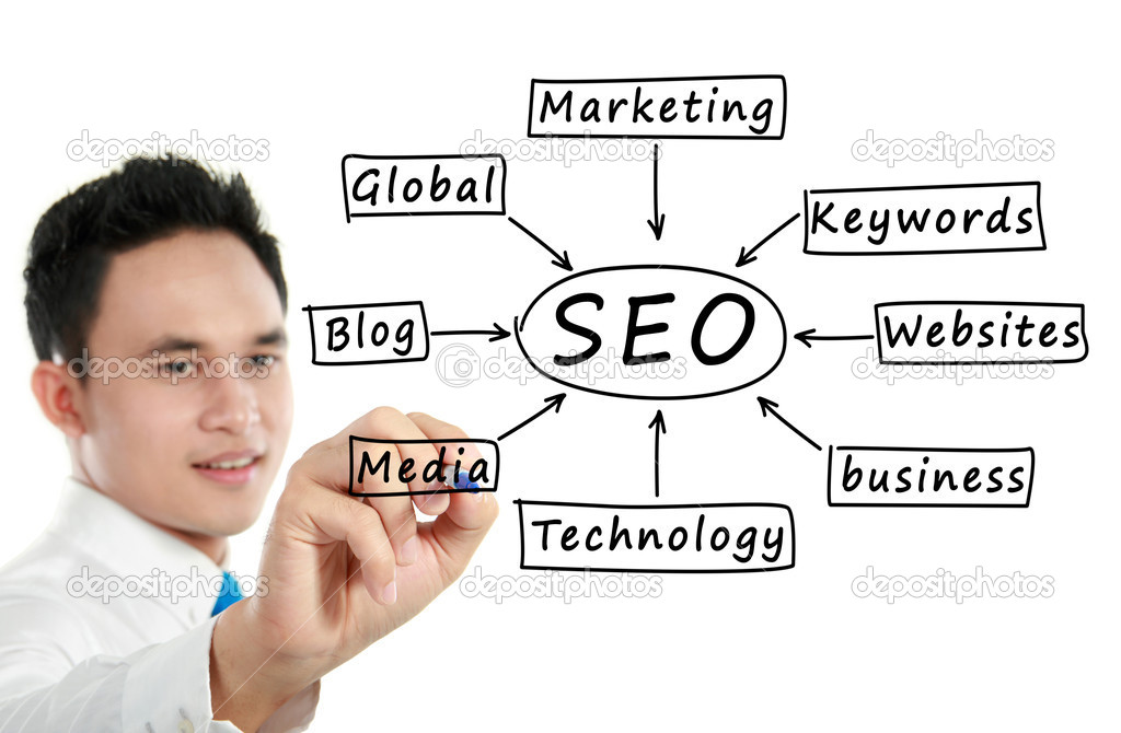 Potrait Young man writing a SEO concept — Stock Photo #11146132