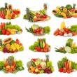 Fruits and vegetables isolated on white background - Stok fotoğraf