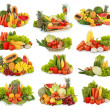 Fruits and vegetables isolated on white background - Zdjęcie stockowe