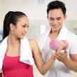 Stock Photo: Fitness Smiling young man and woman