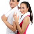 Fitness Smiling young couple man and woman — Stock Photo #11409733