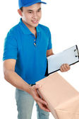 Man courier in blue uniform — Stock Photo