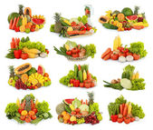 Frutta e verdura, isolato su sfondo bianco — Foto Stock
