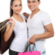 Young couple with shopping bag — Stock Photo #11501122