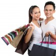 heureux couple attrayant shopping — Photo