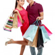 Man and woman with shopping bag — Foto de Stock