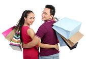 Mladý pár, nakupování — Stock fotografie