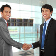 Stock Photo: Business colleagues shaking hands