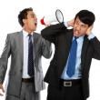 Boss shouting over his employee's ear — Stock Photo