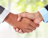 Businessman shaking hands — Stock Photo