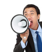 Man shouting using megaphone — Stock Photo