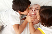 Son kissing their father — Stock Photo