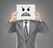 Işadamı kızgın maskesi — Stok fotoğraf